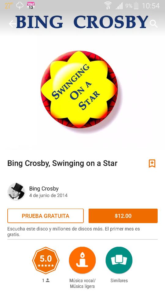 Google Play: Album Swinging on a Star de Bing Crosby a $12 (94 canciones)
