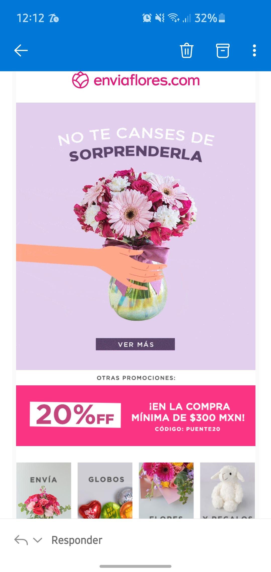 Envía Flores: 20% de descuento en comprar mínima de $300
