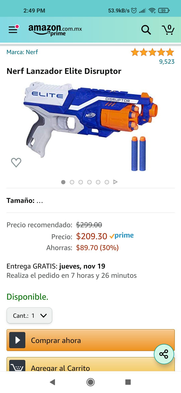Amazon: Nerf elite disruptor lanzador de dardos