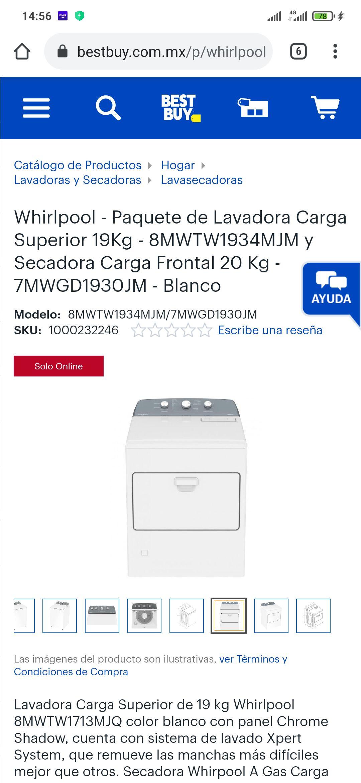 Best Buy: whirpool Paquete lavadora y secadora a gas ofertón!!!