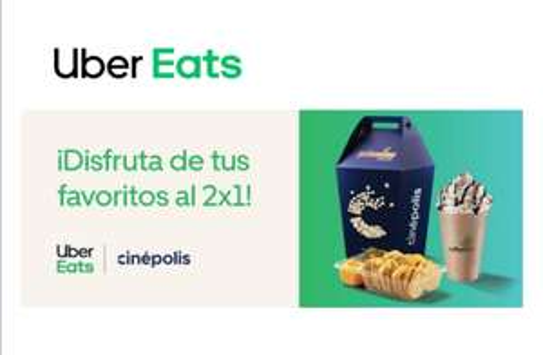 Uber Eats: 2x1 Palomitas, Nachos o Frappés en Cinépolis