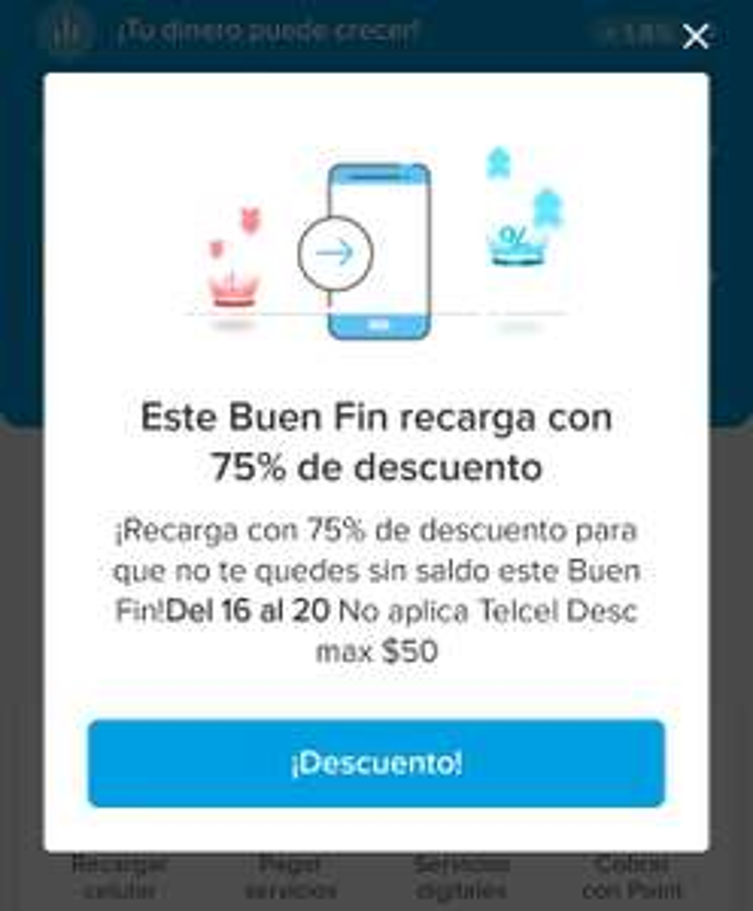 Mercado pago 75% de descuento en recargas