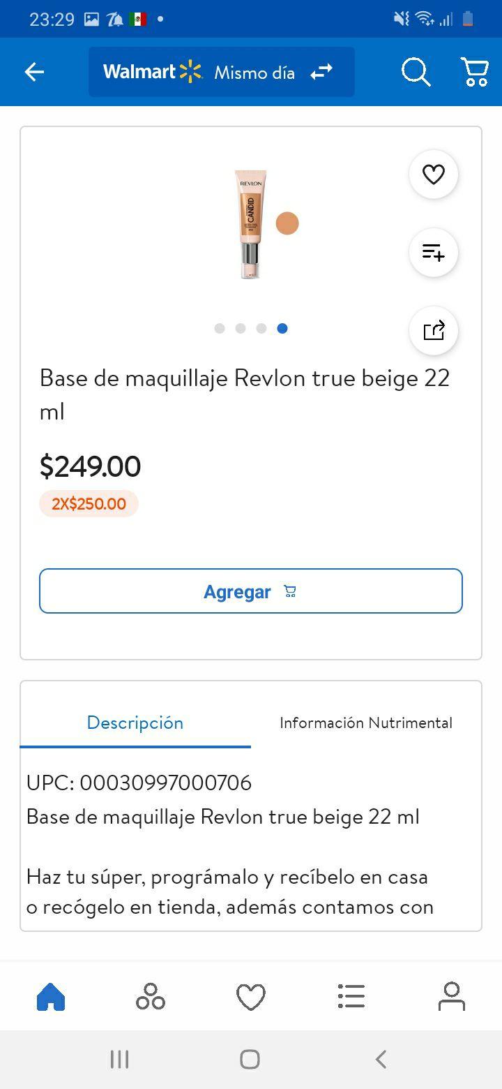 Walmart app: 2x$250.00 Base maquillaje revlon true