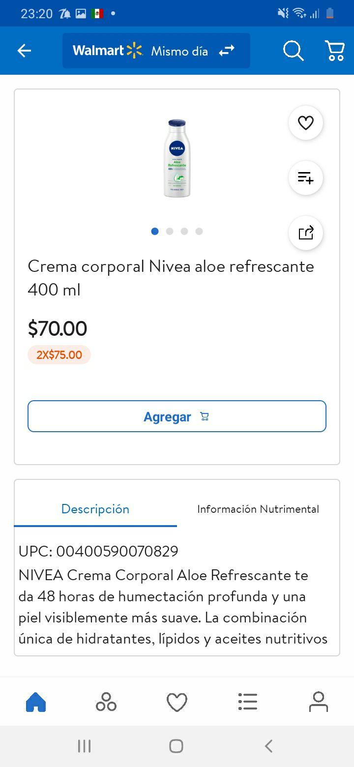Walmart app: 2x75, Crema nivea corporal aloe