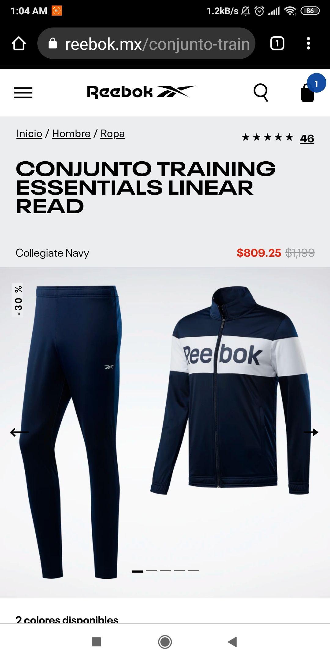 Reebok: Conjunto deportivo Reebok (precio aplicando 20%off + cupón)