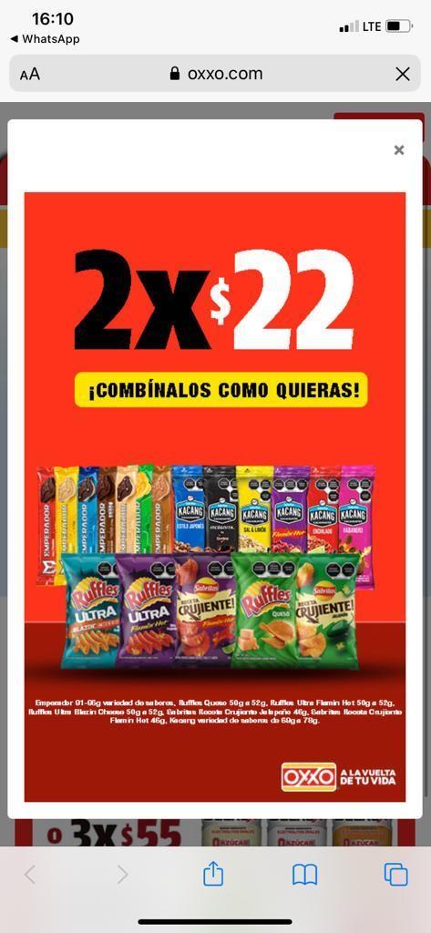 Oxxo - Emperador, Ruffles, algunas papas crujientes y cacahuates de Sabritas se pueden combinar a 2x22