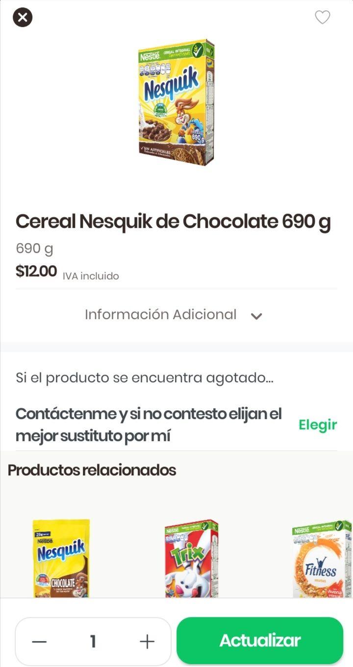 BUG Rappi: chedraui cereal nesquik 690 gramos + 40% de descuento por buen fin = 8 pesitos