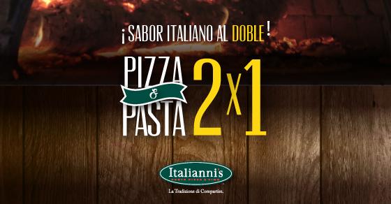 Italiannis: 2x1 en Pastas y Pizzas SELECCIONADAS