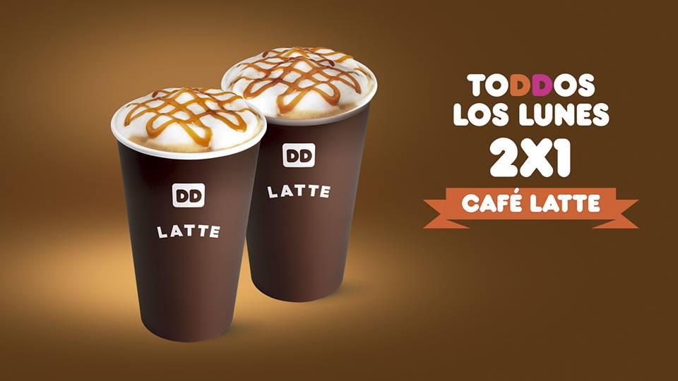 Dunkin Donuts: Todos los lunes 2x1 en café latte (caliente o frío)