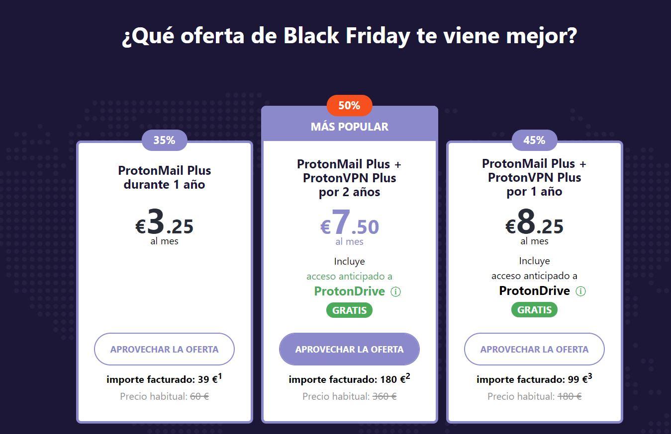 Protonmail: promociones Black Friday Correo cifrado, servicio VPN y almacenamiento en la nube