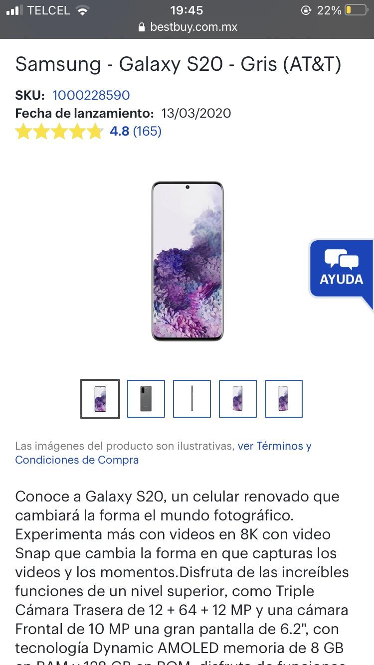 Best Buy: Galaxy S20 gris(con HSBC y paypal)