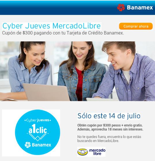 Mercadolibre: $300 en cupón en productos seleccionados + 18 meses con Banamex