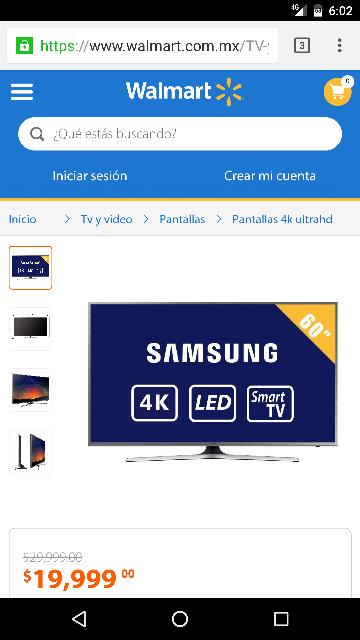 "Wallmart en línea: TV Samsung 60"" UN60JS7200 4K Ultra HD Smart TV LED"