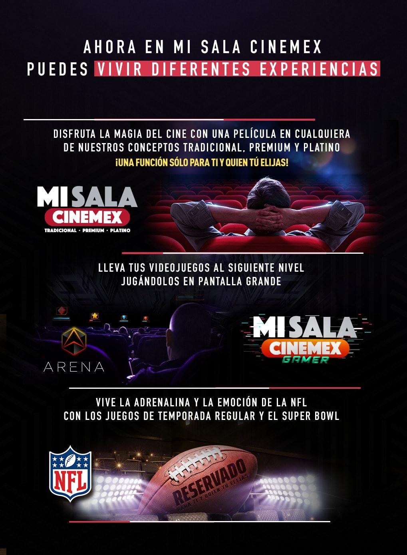 Cinemex Mi sala - rentar las salas para uso de Videojuegos o partidos NFL