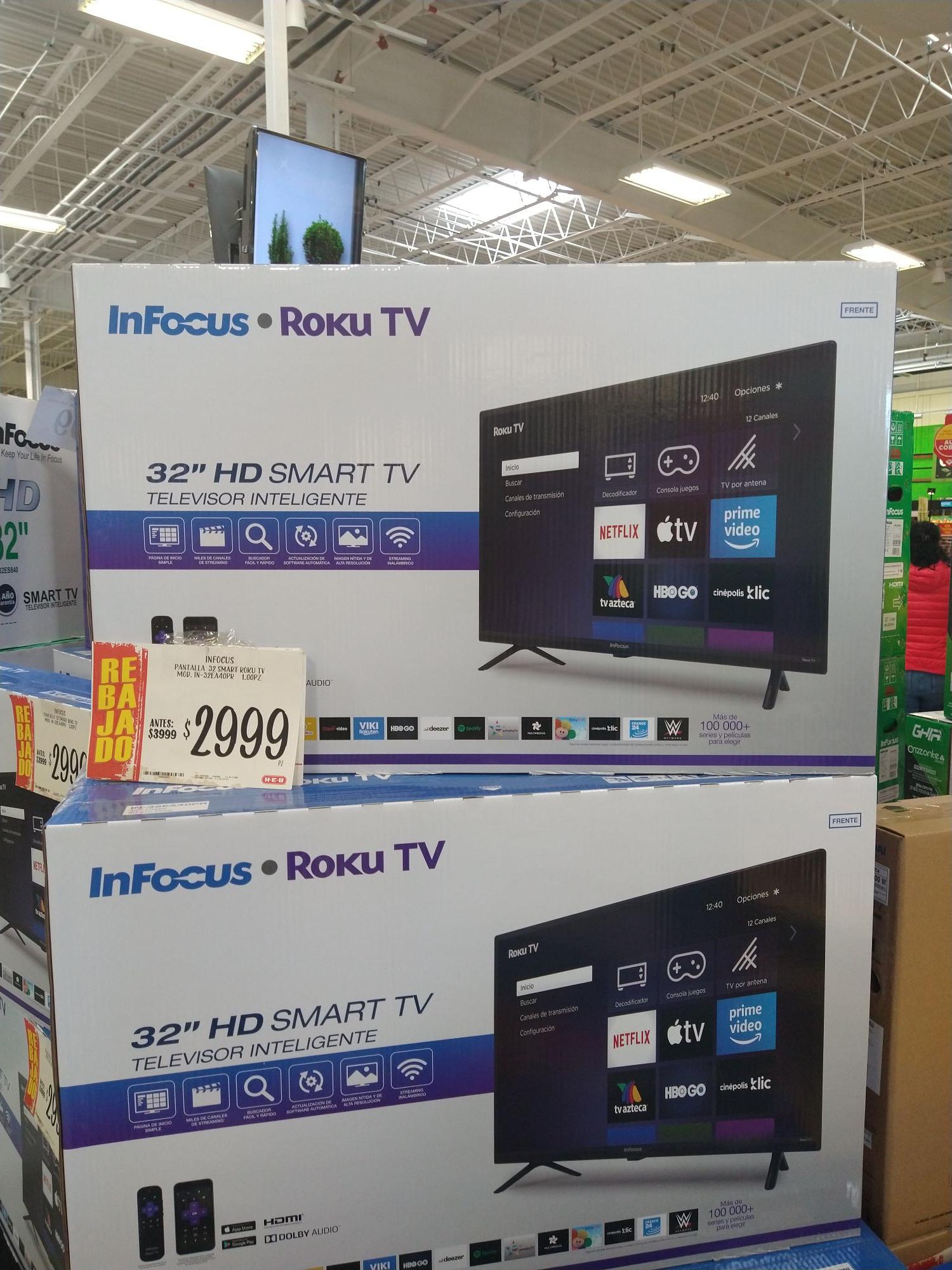 """HEB: SMART TV InFocus 32"""" con ROKU TV"""