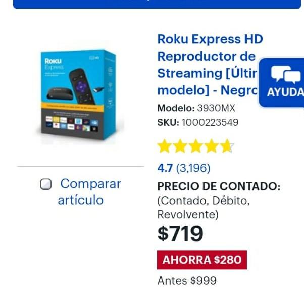 Best Buy: Roku Express HD Reproductor de Streaming [Último modelo] - Negro