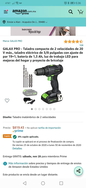Amazon: GALAX PRO taladro inalámbrico y atornillador 20V