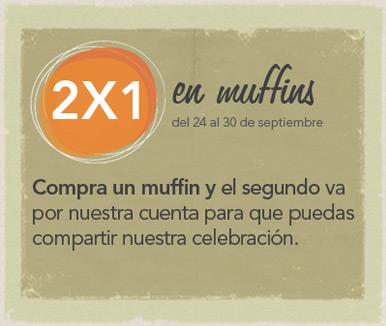 Promociones de aniversario Starbucks: 2x1 en muffins