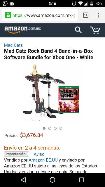 "Amazon: Rock Band 4 ""band in a box"" para Xbox One, color blanco"