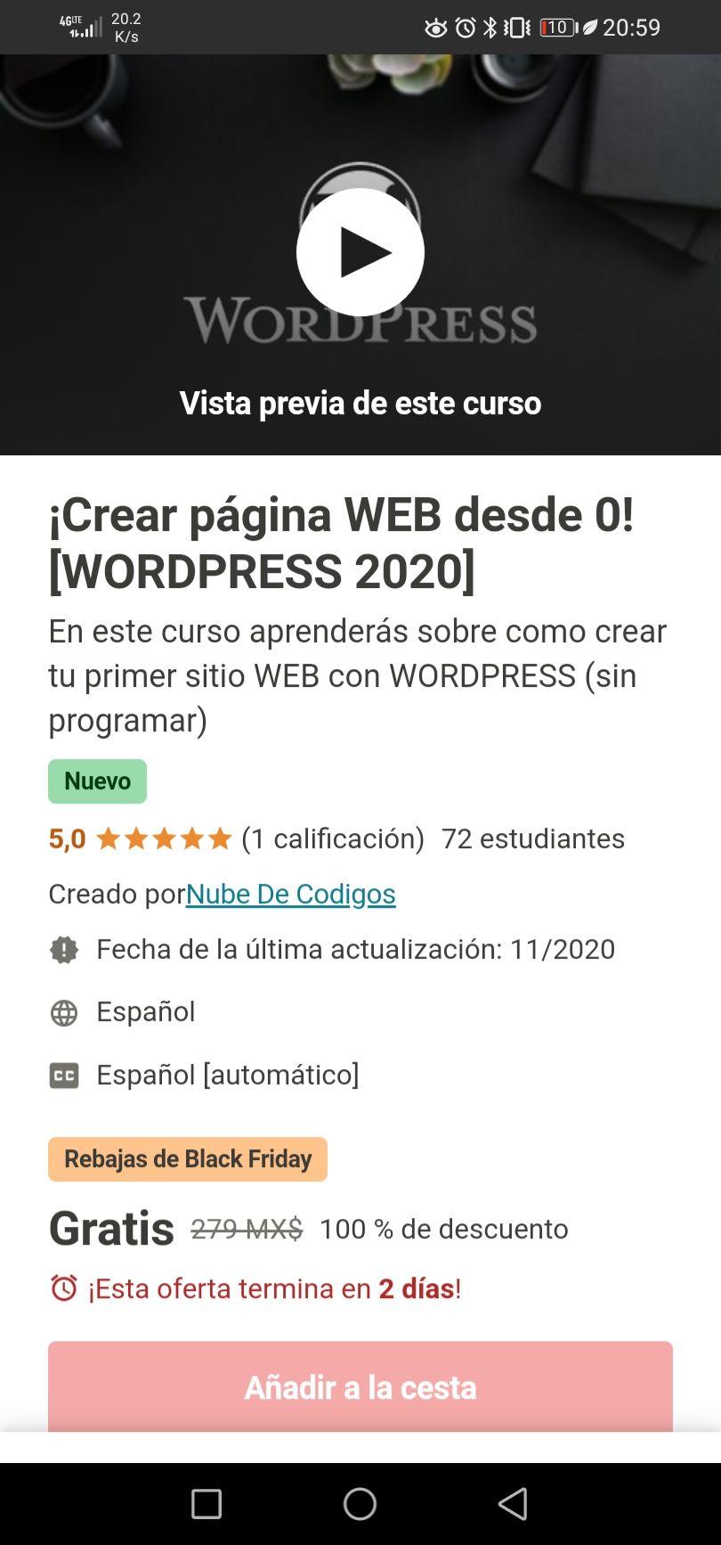 Udemy: ¡Crear página WEB desde 0! [WORDPRESS 2020]