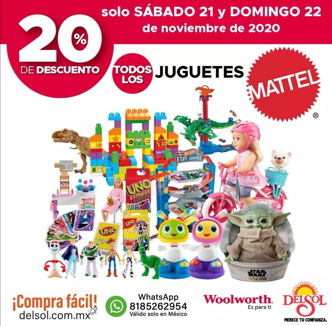 Del Sol y Woolworth: 20% de descuento en todos los juguetes Mattel