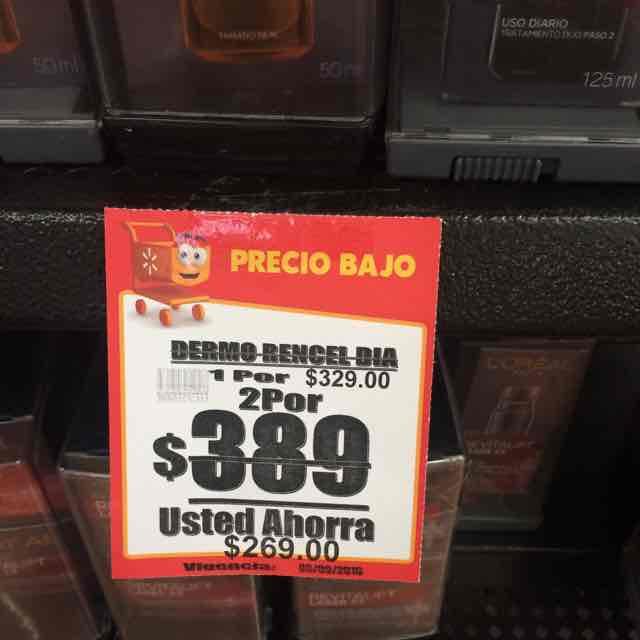 Walmart Tepeyac: crema anti edad Rencel 2 x $389