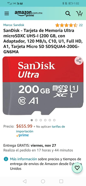 Amazon; MicroSD Sandisk 200 GB