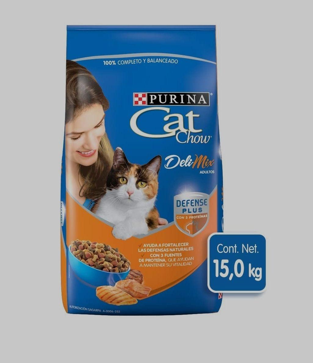 Amazon: Purina Cat Chow Deli Mix 15kg + 9 paquetes de sopa coditos la moderna
