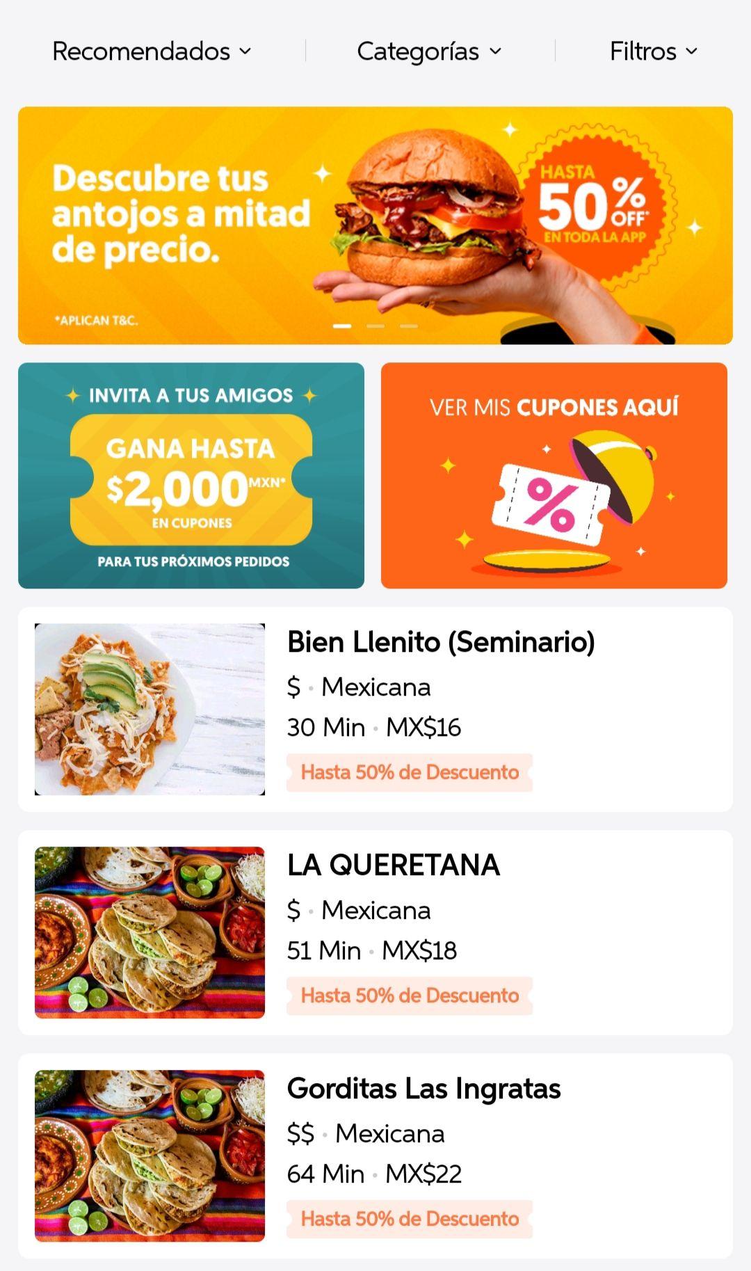 Didi Food: hasta 50% de descuento en todo DiDi