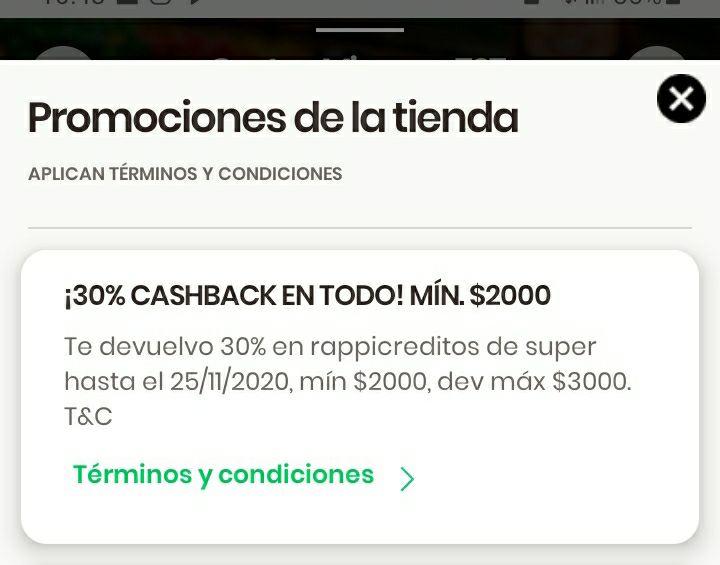 Rappi: 30% Cashback en Súper (usuarios seleccionados)