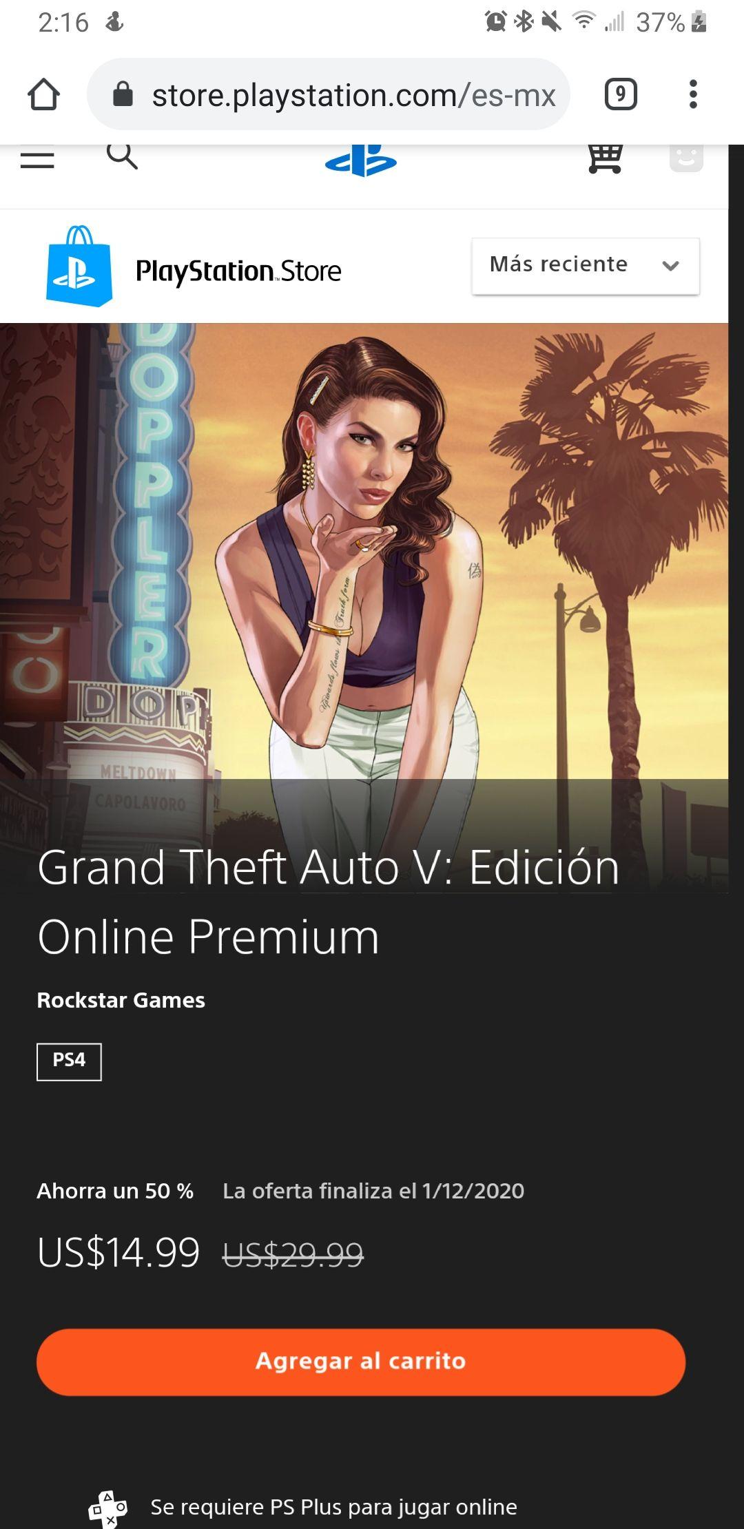 GTA V en 15 dólares en la PlayStation Store