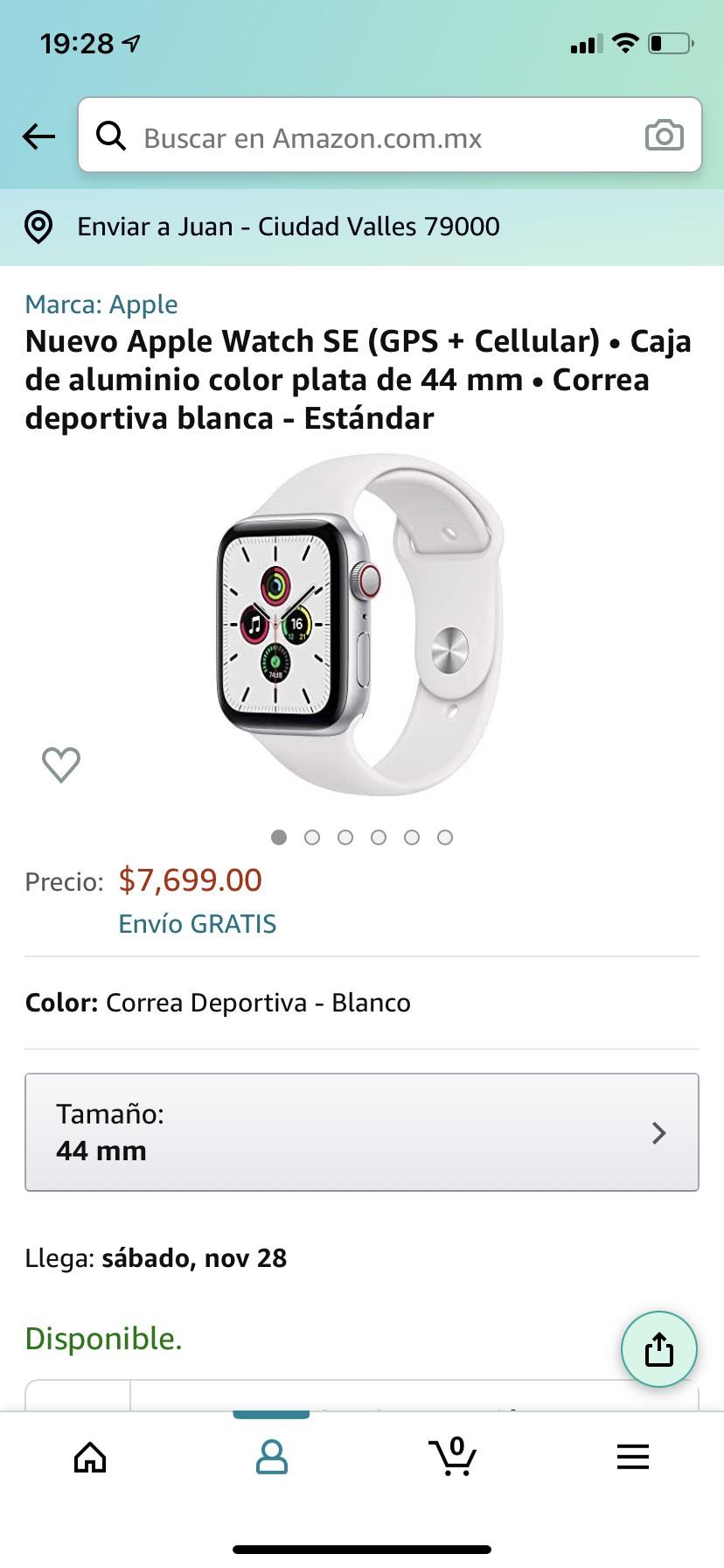 Amazon: Nuevo Apple Watch SE (GPS + Cellular) aluminio 44 mm