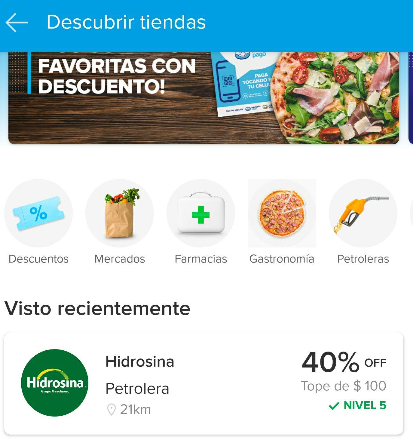 Mercado pago: Descuento de 40% en Hidrosina límite $100, Nivel 5