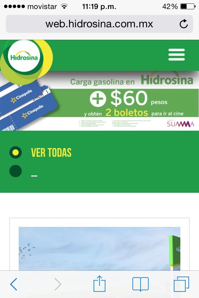 HIDROSINA: 2 BOLETOS CINEPOLIS CARGANDO GAS + $60