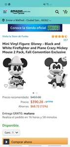 Amazon: Mini Vinyl Figure: Disney - Black and White Firefighter and Plane Crazy Mickey Mouse 2 Pack