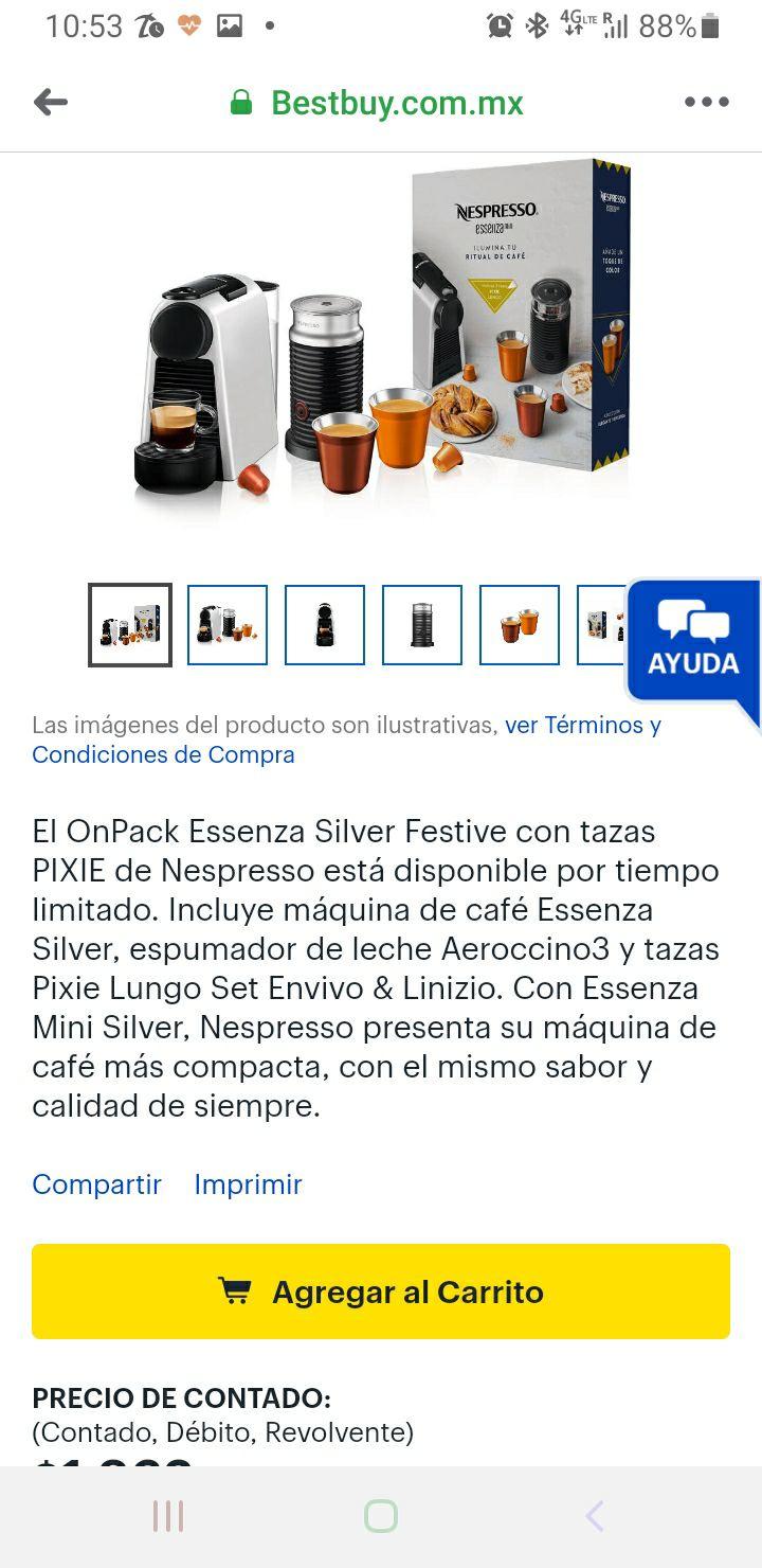 Best Buy: Pack Nespresso cafetera, tazas y espumador