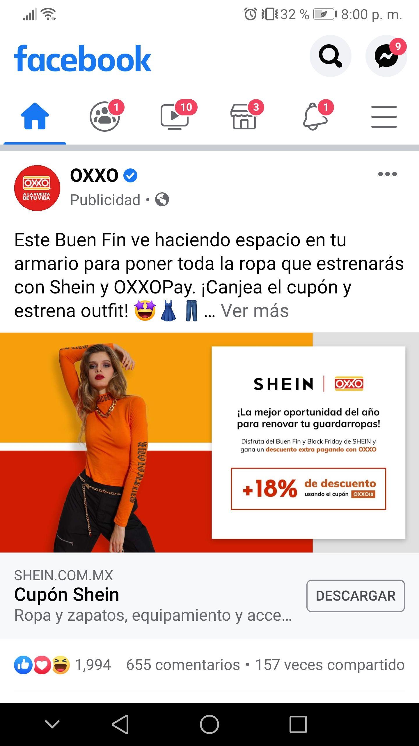 Shein: 18% de descuento extra pagando en OXXO