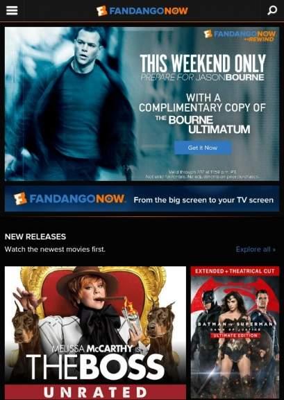 FandangoNow: Película Gratis Bourne el últimatum (se necesita ip de usa)