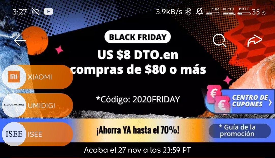 Aliexpress: Cupón de BlackFriday - 8 USD ($160) en compras de 80 USD o más