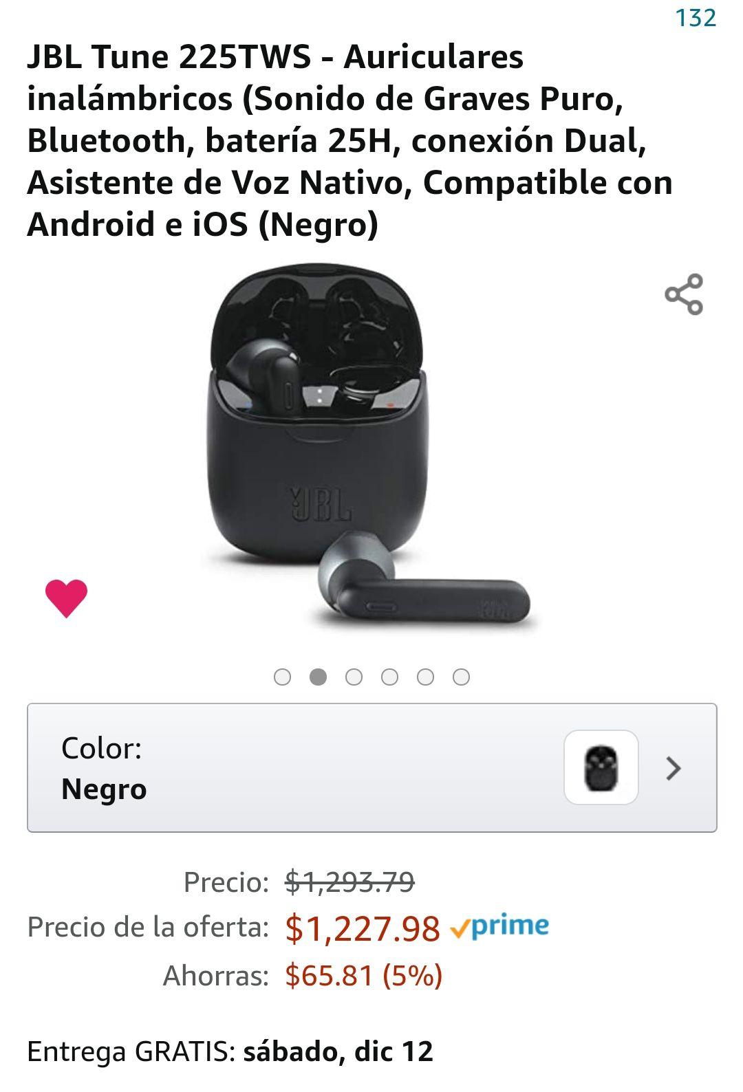 Amazon: Audífonos JBL Tune 225tws
