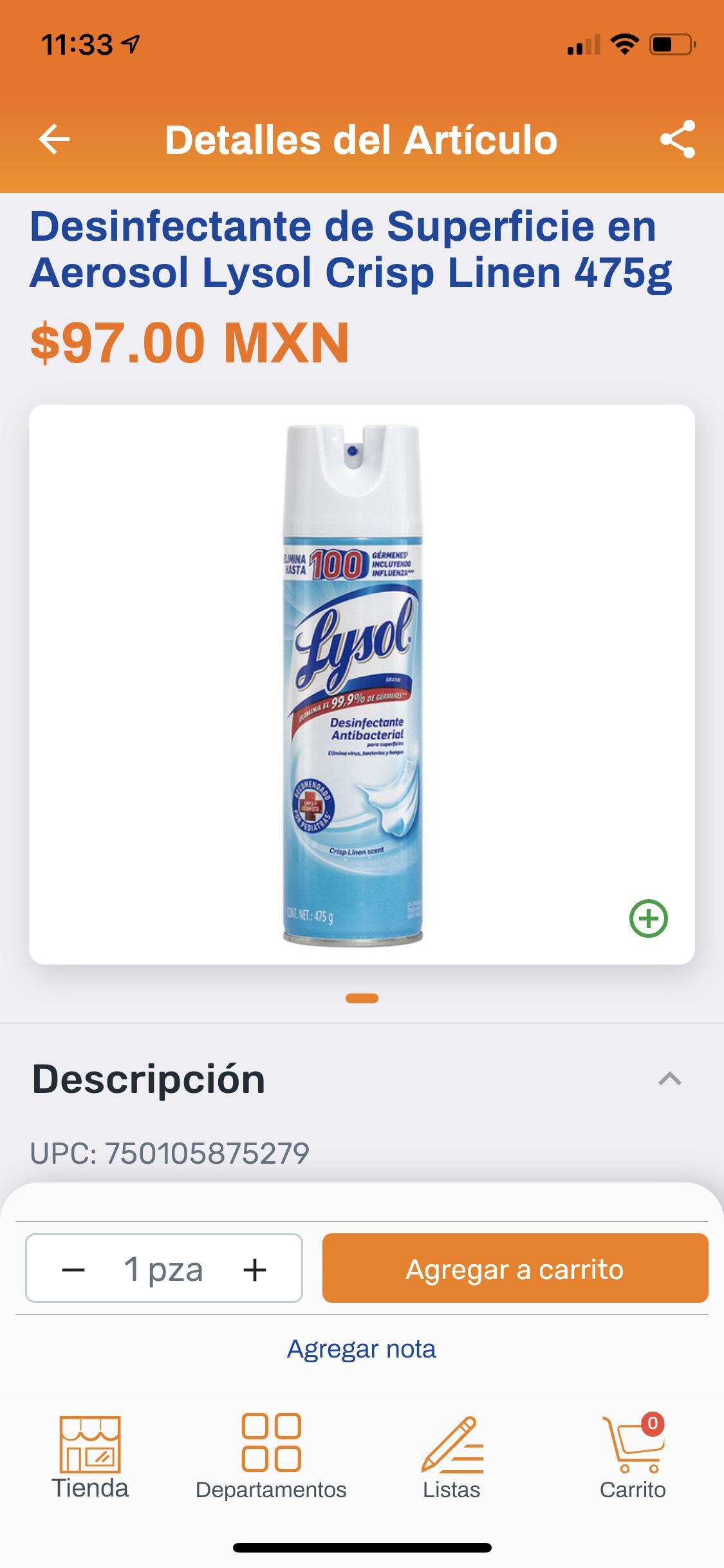 Chedraui: Desinfectante de Superficie en Aerosol Lysol Crisp Linen 475g