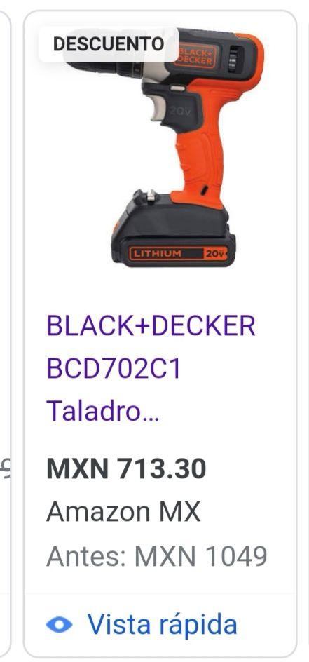Amazon: taladro inalámbrico 20V BLACK+DECKER BCD702C1