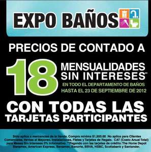 Expo Baños Home Depot: 18 meses sin intereses a precio de contado