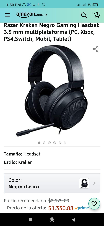 Amazon: Razer Kraken Negro Gaming Headset 3.5 mm audio 7.1 multiplataforma
