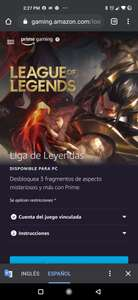 Prime Gaming: Fragmento de aspecto para lol