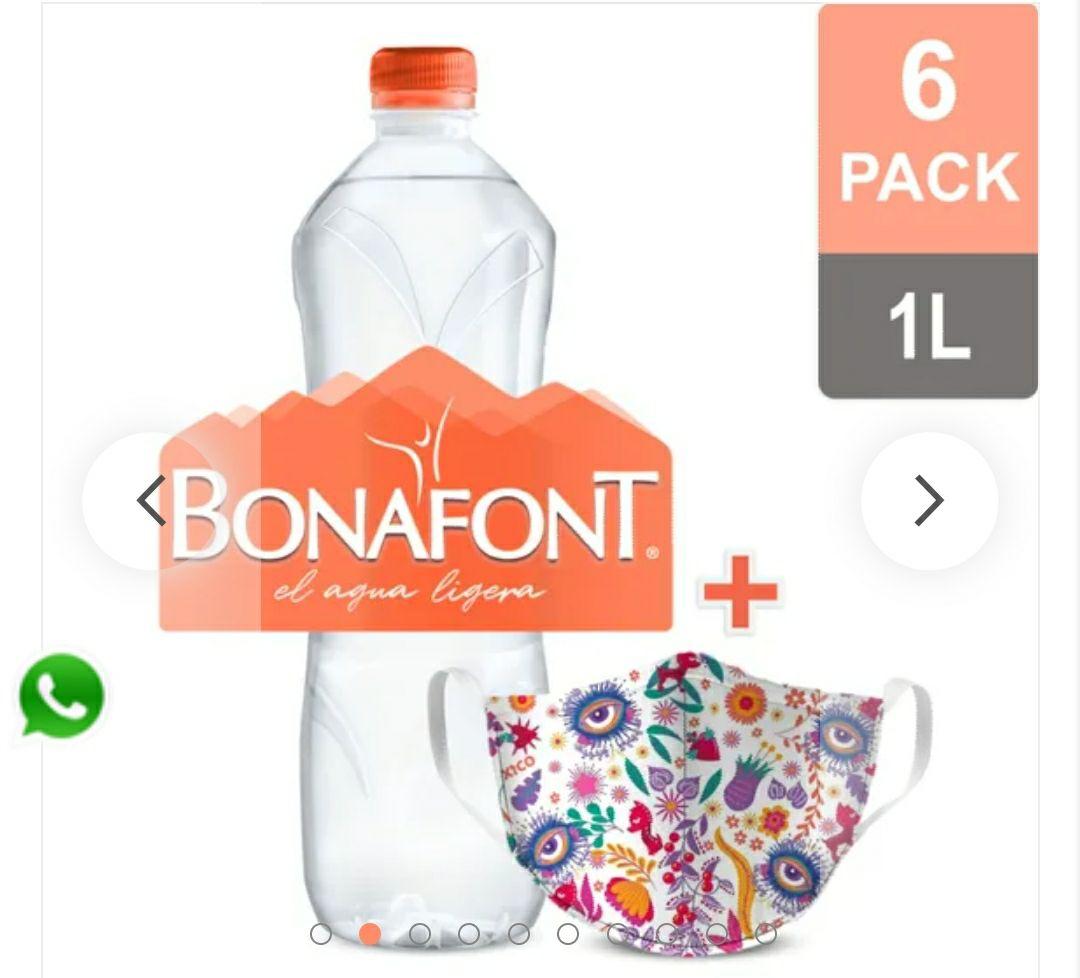 Bonafont:Bonafont Agua Natural 6x1L + Cubrebocas reutilizable