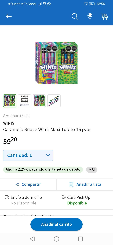 Sam's Club Texcoco: Caramelo Suave Winis Maxi Tubito 16 pzas