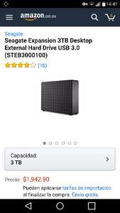 Amazon: Disco Duro Externo 3TB USB 3.0 Seagate Expansion STEB3000100