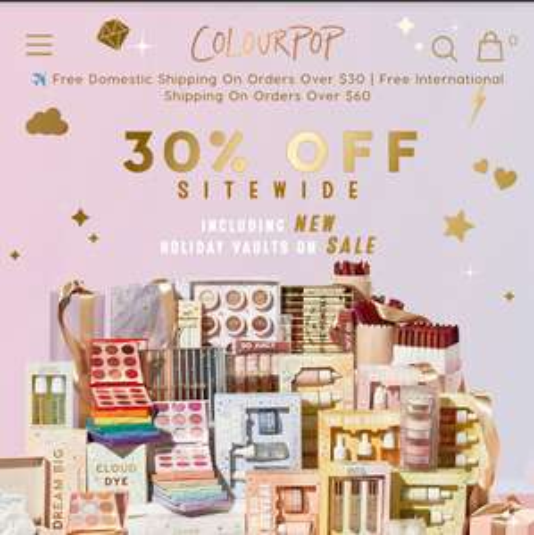 Maquillaje Colourpop 30% de descuento