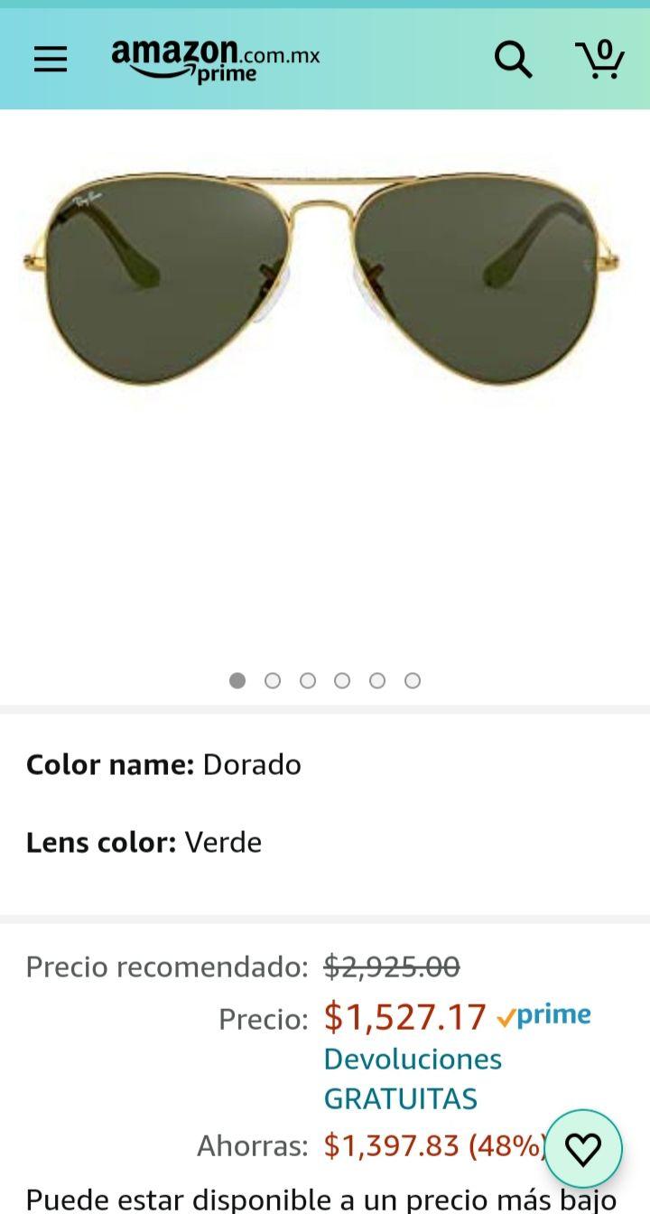 Amazon: Lentes Ray ban Aviator